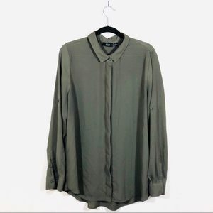 Olive Green Chiffon Blouse Long Sleeve size Large